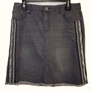 LBACCINI Jean Skirt Black Embroidered Denim Raw